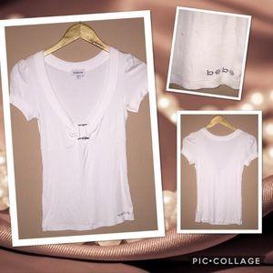 Bebe Ribbed short sleeve shirt blouse MEDIUM